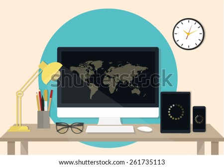 Set of Flat vector design illustration of business office and workspace  - stock vector