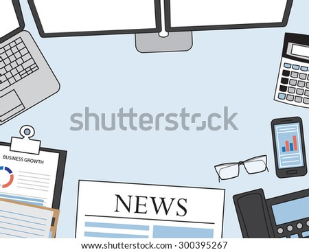 Set of Flat vector design illustration of modern business office and workspace. Top view of desk background with laptop, digital devices, office objects ,financial markets - stock vector