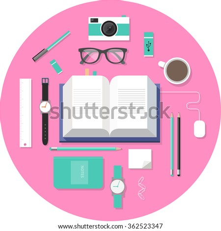 Set of Flat vector design illustration of modern flat workspace. Top view of desk background with book, digital devices, office objects  - stock vector