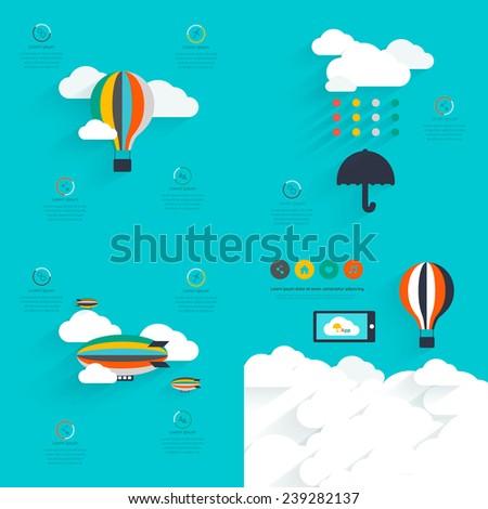 Set of flat vector design of the startup process, cloud storage, responsive web design, hot air balloon, creative cloud,  - stock vector