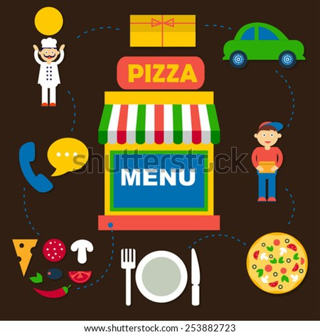 set of flat vector icons for pizza online order with dark backgr - stock vector