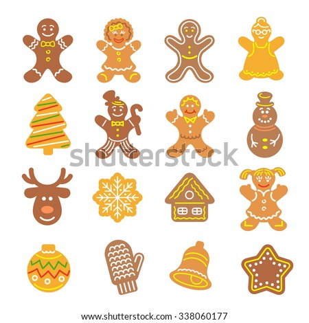 Set of flat vector icons of different Christmas cookies. Gingerbread men and girls, Christmas tree, deer, snowflake, bell and other holiday symbols, baked by hand. Festive baking for winter holidays - stock vector