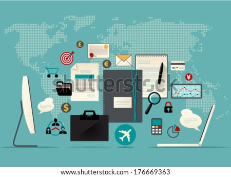 Set of flat vector illustration icons and logos with conception of computers wireless connected and transferring data information via internet communication. Graphic Design Editable For Your Design.  - stock vector