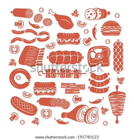 Set of flat vector meat and sausage icons - stock vector