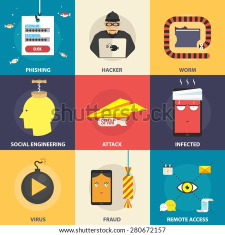 Set of flat vector modern icons, illustrations - hacking, hacker, phishing, fraud, cyber security. Design elements for web, mobile applications, infographics. - stock vector