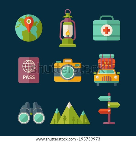 Set of flat vector travel and tourist icons. - stock vector