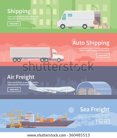 Set of flat vector web banners on the theme of Logistics, Warehouse, Freight, Cargo Transportation. Storage of goods, Insurance. Auto shipping. Air freight. Sea freight. Modern flat design. - stock vector