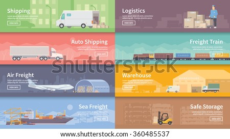 Set of flat vector web banners on the theme of Logistics, Warehouse, Freight, Cargo Transportation. Storage of goods, Insurance. Modern flat design. - stock vector