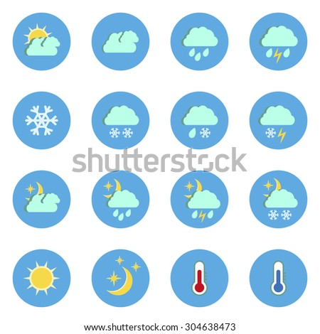 Set of flat weather icons isolated on white background.Vector illustration - stock vector
