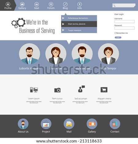 Set of flat web elements, icons and buttons for web design  - stock vector