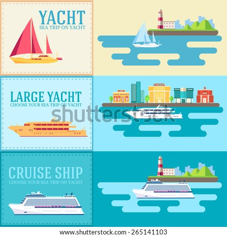 Set of flat yacht, scooter, boat, cargo ship, steamship, ferry, fishing boat, tug, bulk carrier, vessel, pleasure boat, cruise ship with blue sea banners concept. Vector design illustration - stock vector