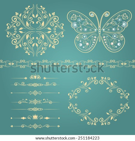 set of floral border, frame, pattern. with vintage butterfly with elegance ornament encrusted jewels. isolated on blue background. vector illustration of luxury calligraphic design elements - stock vector