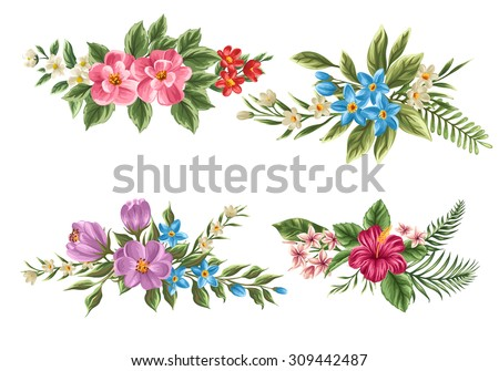 Set of floral bouquet isolated on white background with classical and tropical flowers - stock vector