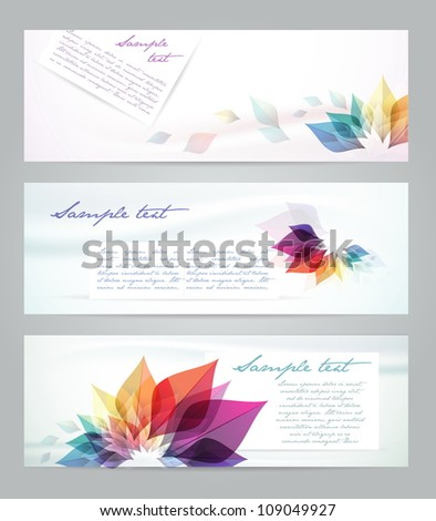 Set of floral card. invintation. Banners - stock vector