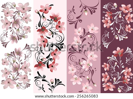 Set of floral cards for your design. Cherry blossom. - stock vector