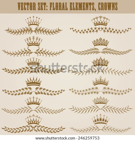 Set of floral damask ornaments. Royal decorative elements, borders, crowns, dividers for design. Page decoration in vintage style. Vector illustration. - stock vector