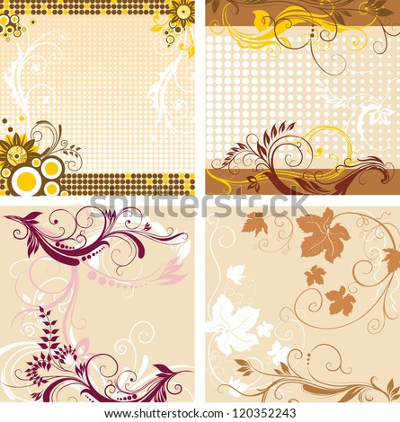 Set of floral decorative backgrounds - stock vector