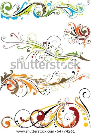 Set of floral design - stock vector
