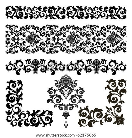 Set of floral design elements on the white background - stock vector
