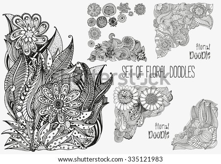 Set of floral doodles. Black and white pattern in vector.  Artistically drawn, doodle, henna. Tribal.  Sketch by trace. zentangle - stock vector
