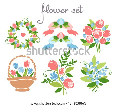 Set of floral elements. Romantic design. Bright colors. For decorating cards, posters, invitations. - stock vector
