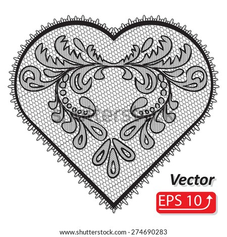 Set of floral frame lacy hearts shapes with hand drawn floral ornaments. Love concept for Valentines Day or Wedding design, black lace heart , isolated on white background vector illustration - stock vector