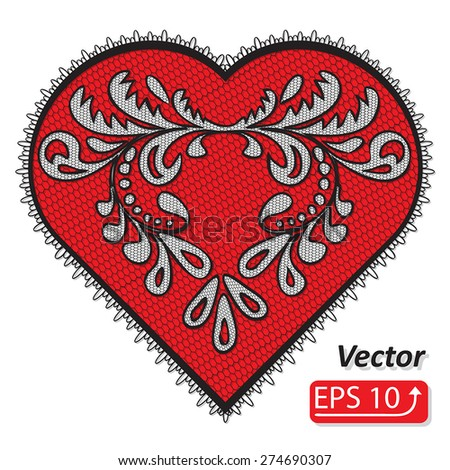Set of floral frame lacy hearts shapes with hand drawn floral ornaments. Love concept for Valentines Day or Wedding design, black red lace heart , isolated on white background vector illustration - stock vector