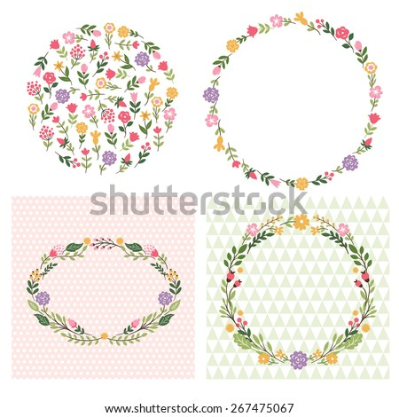 set of floral frames - stock vector