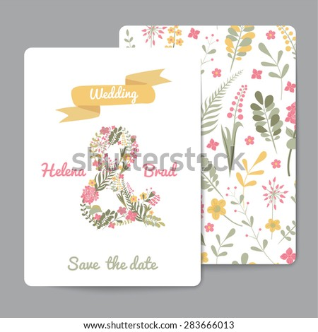 Set of floral greeting cards wedding invitations. Templates Save the date. Editable Vector illustration. - stock vector