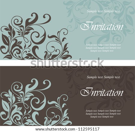Set of floral invitation cards. - stock vector