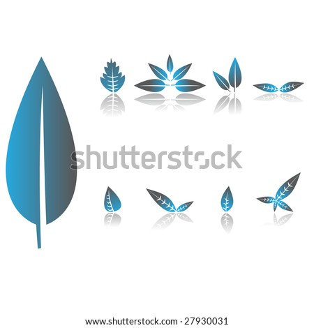 Set of floral leave in blue - stock vector