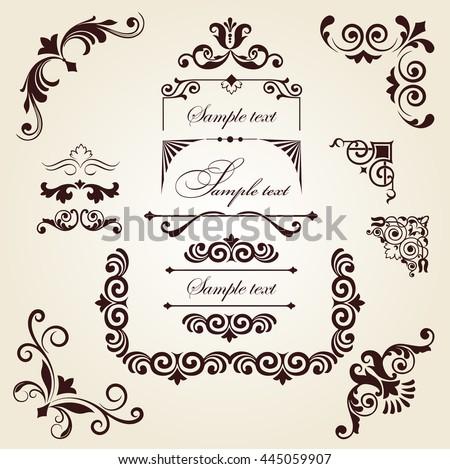 Set of floral ornament, set of corner floral ornament, floral elements - stock vector