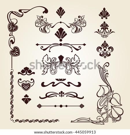 Set of floral ornament, set of corner floral ornament, floral elements, Art Nouveau floral elements - stock vector