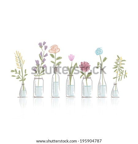 Set of floral pots for your design - stock vector