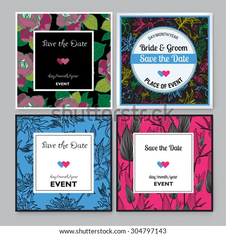 Set of floral Save the Date for events design - stock vector