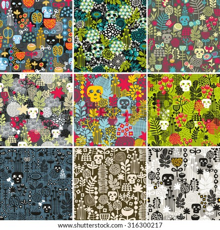 Set of floral seamless patterns with funny skulls. Vector repeated background. - stock vector