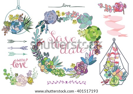 Set of floral succulent elements for your design. Wedding elements for invitation - stock vector