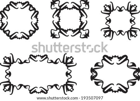 set of floral vintage frames - stock vector