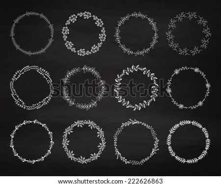 Set of floral wreath on the chalkboard. Chalk elements for wedding decor. Vintage frames. Sketch garlands. Greeting cards. Vector illustration. - stock vector