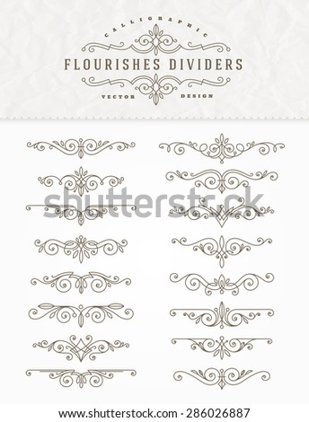 Set of flourishes calligraphic elegant ornament dividers - vector illustration - stock vector