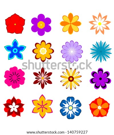 Set of flower blossoms and petals isolated on white background for design. Jpeg (bitmap) version also available in gallery - stock vector