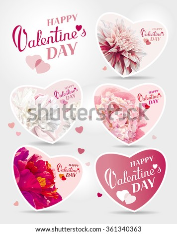 Set of flower greeting cards for the Valentine's day - stock vector