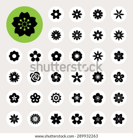 Set of Flower icons.Illustration eps10 - stock vector