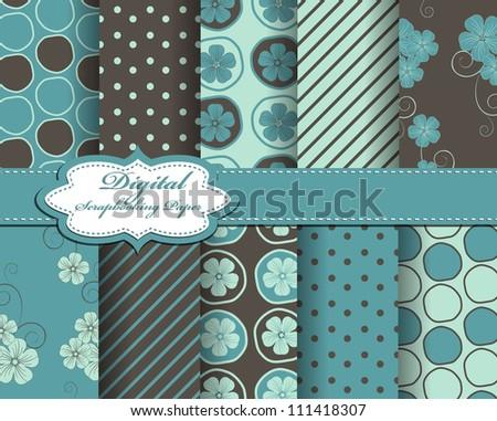 set of flower vector paper for scrapbook - stock vector
