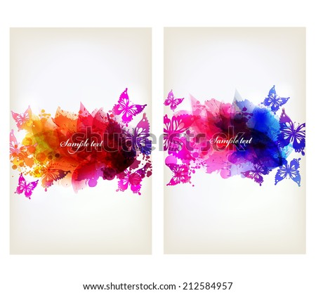 Set of flowers element and colorful butterfly. Design brochure template with floral elements - stock vector