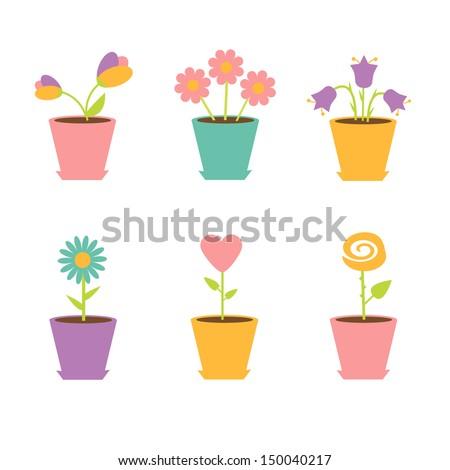 Set of flowers in pots. Vector illustration - stock vector