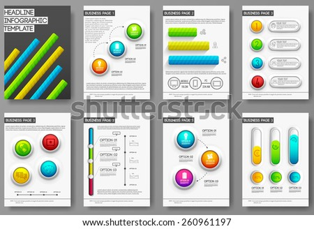 Set of flyer and brochure of flat infographics and 3d realistic chart element with typography text concept illustration. Your vector template for you design a4 print, web and mobile applications - stock vector