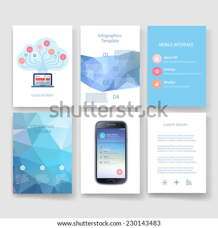 Set of Flyer, Brochure Design Templates. Geometric Triangular Abstract Modern Backgrounds. Mobile Technologies, Applications and Infographic Concept.  - stock vector