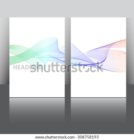 Set of Flyer, Brochure Design Templates. Smoke waves in various colors. Abstract Modern Backgrounds. Mobile Technologies, Applications and Online Services. Mock up. - stock vector