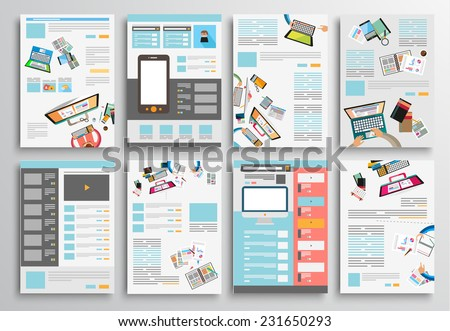 Set of Flyer Design, Web Templates. Brochure Designs, Technology Backgrounds. Mobile Technologies, Infographic  ans statistic Concepts and Applications covers. - stock vector